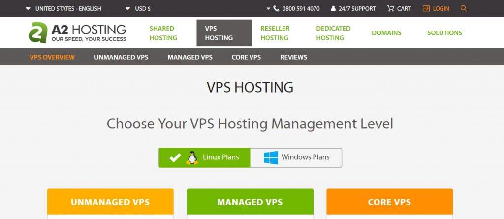 A2hosting VPS-värd