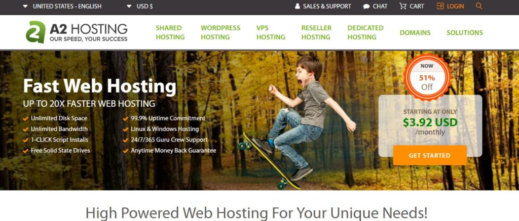 A2 hosting webhotell